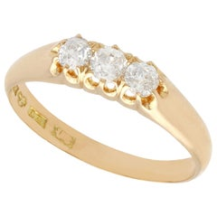 Antique Diamond Yellow Gold Three-Stone Ring