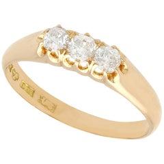 Antique Diamond Yellow Gold Three-Stone Ring