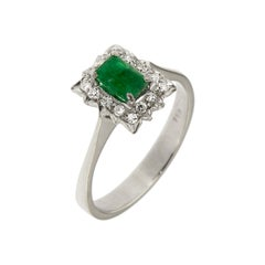 Antique Diamonds .40 Emerald 18 Karat White Gold Ring
