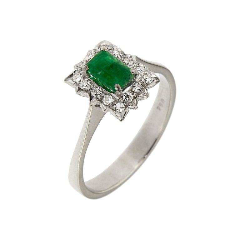 Antique Diamonds .40 Emerald 18 Karat White Gold Ring For Sale
