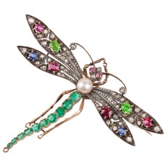 Antique Diamonds and Precious Stones French Dragonfly Brooch