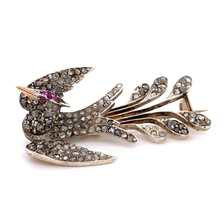 Antique Diamonds and Rubies Bird Gold Brooch Pin Estate Fine Jewelry For Sale 1