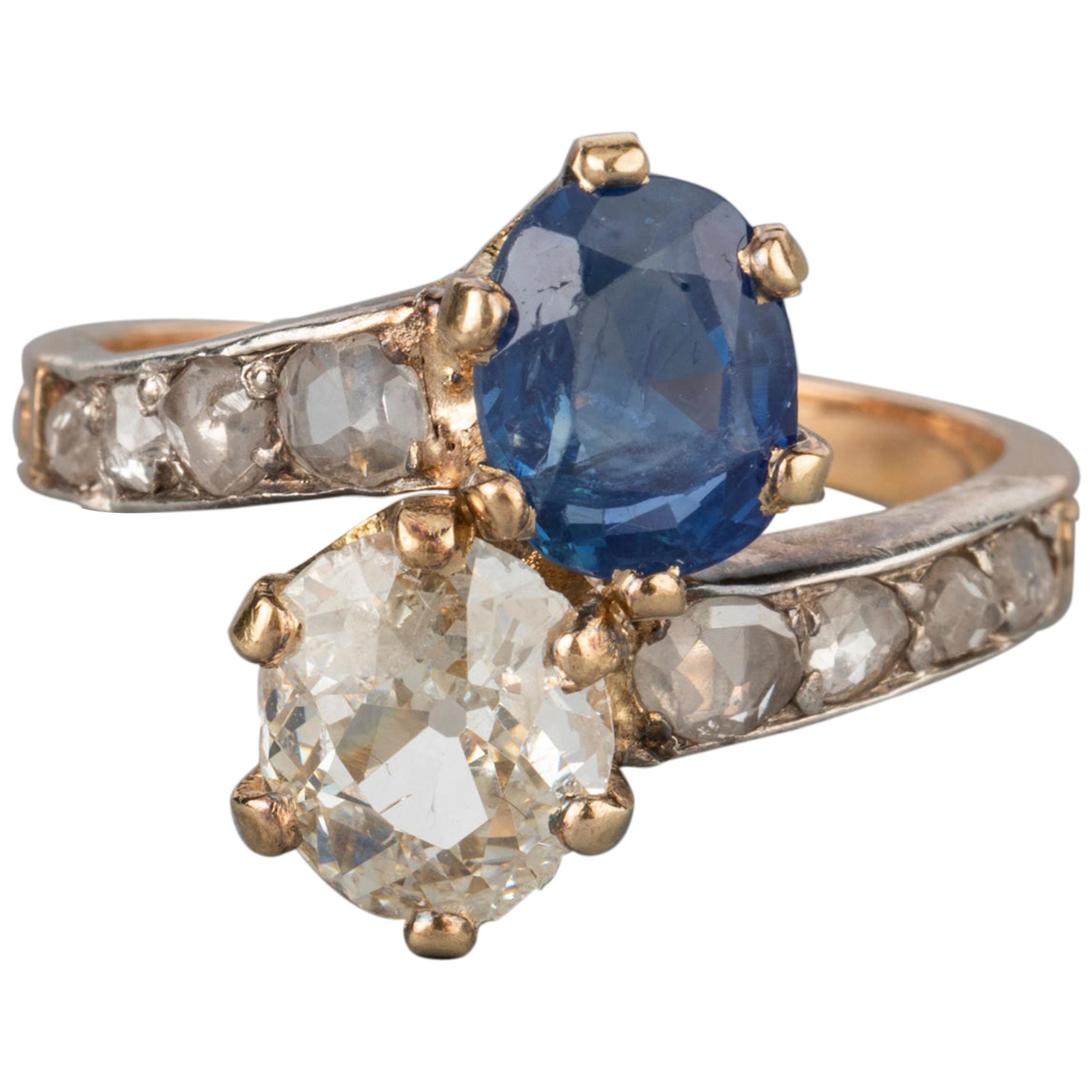 Antique Diamonds and Sapphire Belle Époque Ring