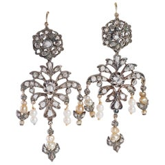 Antique Diamonds Pendant Earrings