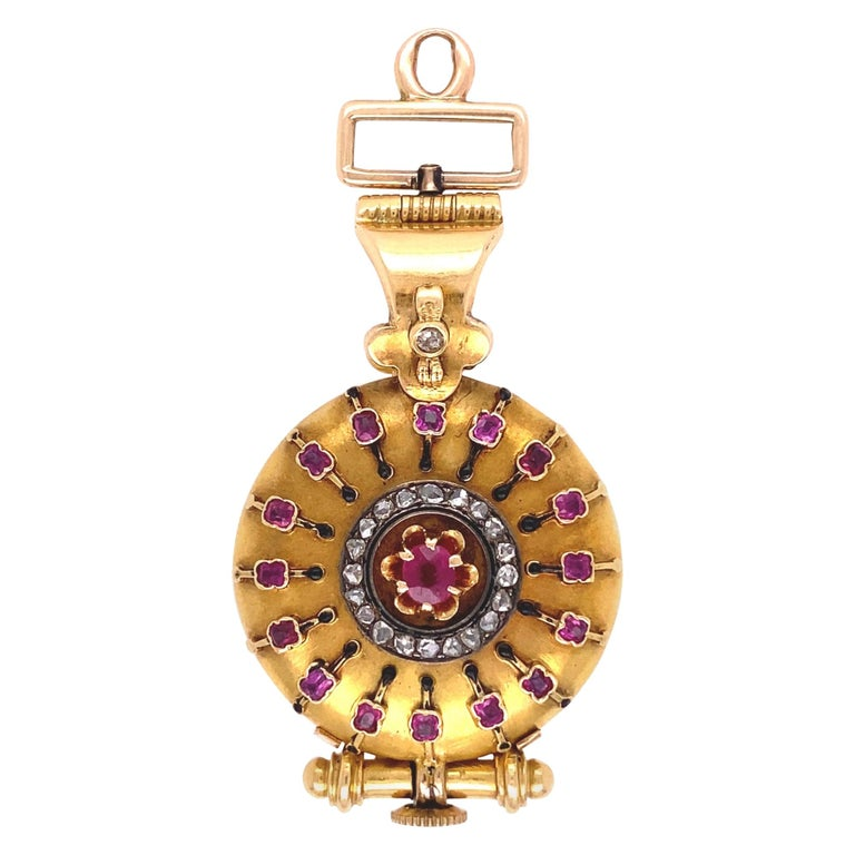 Antique Diamonds Rubies and Enamel Gold Watch Fob Pendant Estate Fine Jewelry For Sale