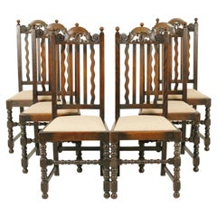 Antique Dining Chairs, 6 Oak Dining Chairs, Scotland 1920, B1726
