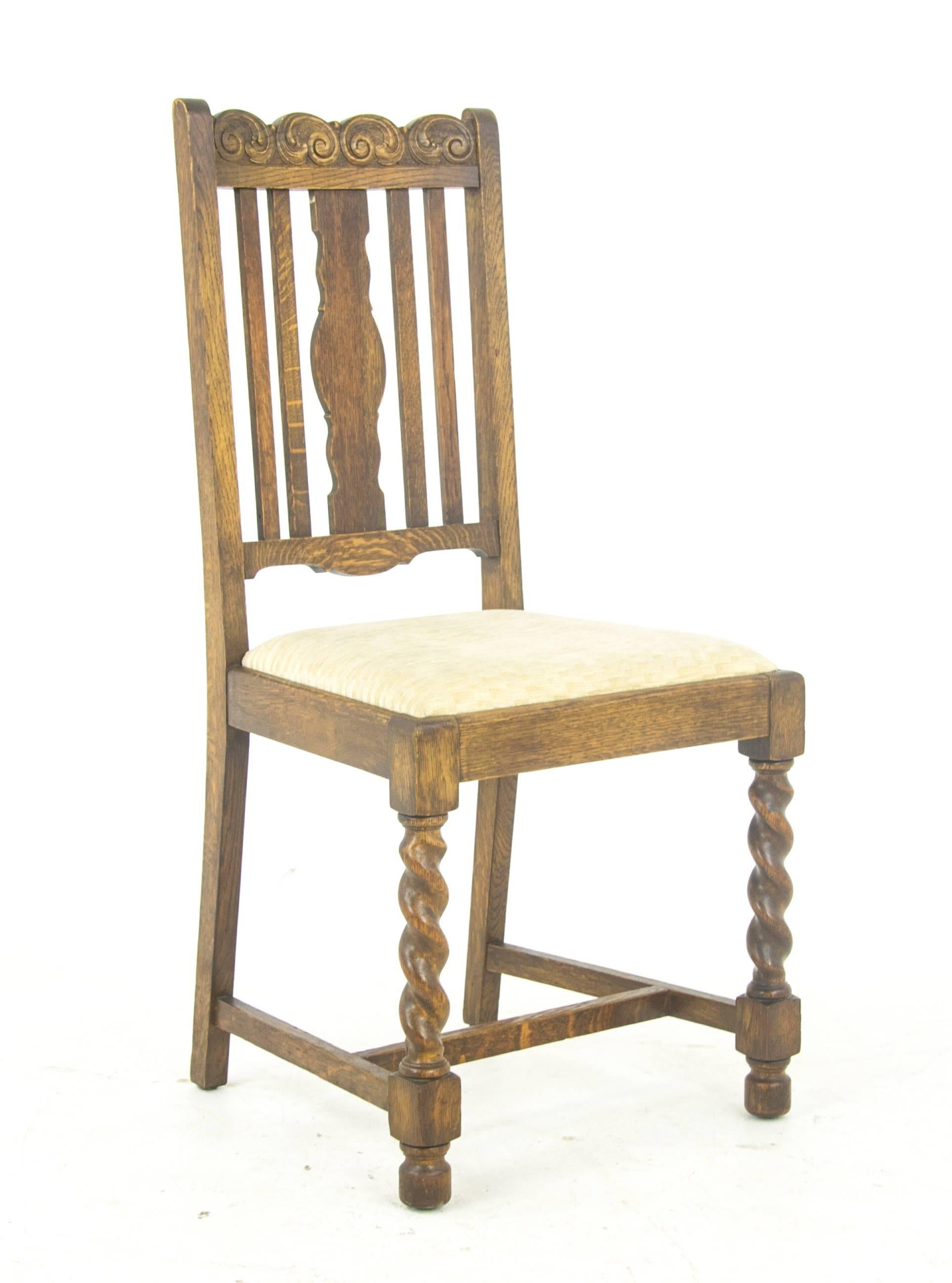 Scottish Antique Dining Chairs Six, Barley Twist Oak, Antique Furniture,  Scotland, 1920s