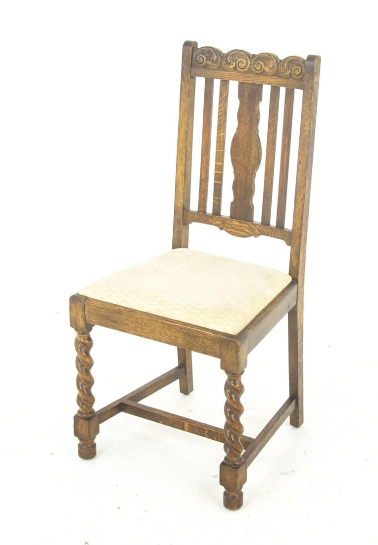 Hand-Crafted Antique Dining Chairs Six, Barley Twist Oak, Antique Furniture,  Scotland - Antique Dining Chairs Six, Barley Twist Oak, Antique Furniture