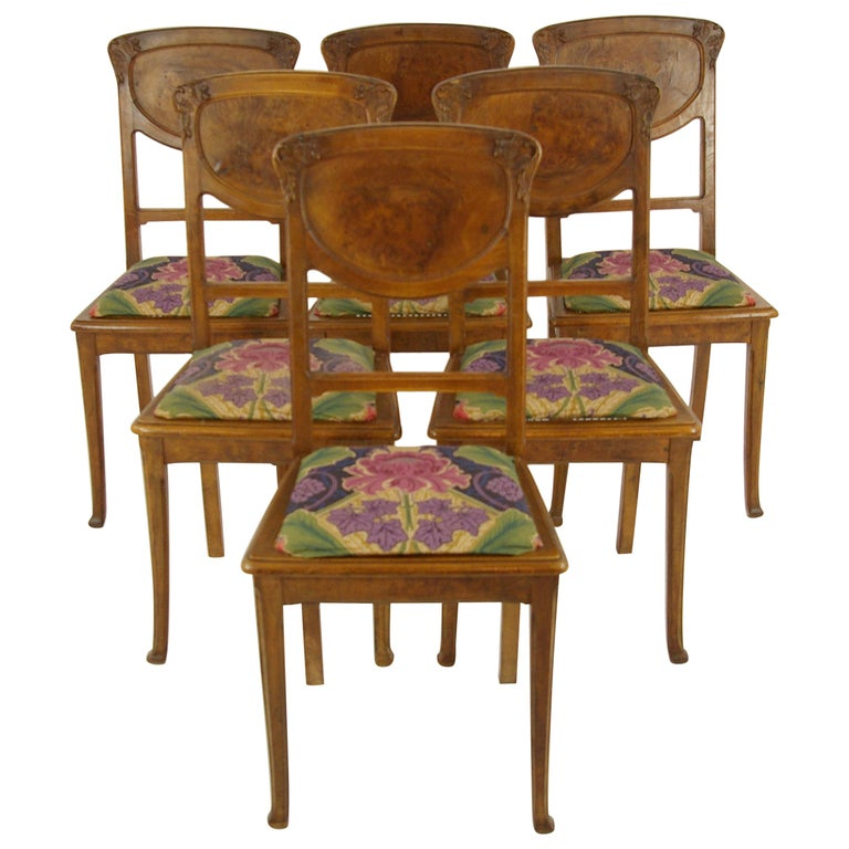 Antique Dining Chairs >> Antique Dining Chairs Art Nouveau Chairs Walnut Chairs France