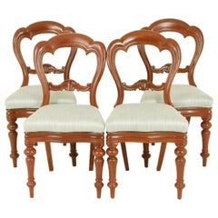 Antique Dining Chairs, Balloon Back Chairs, Walnut, Victorian, 1880, B1541