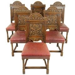 Antique Dining Chairs, Renaissance Revival, Oak Chairs, Krug, Canada 1930, B1523
