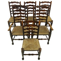 Antique Dining Chairs, Rush Chairs, Ladder Back Chairs, 1930s, B1014  REDUCED!!!