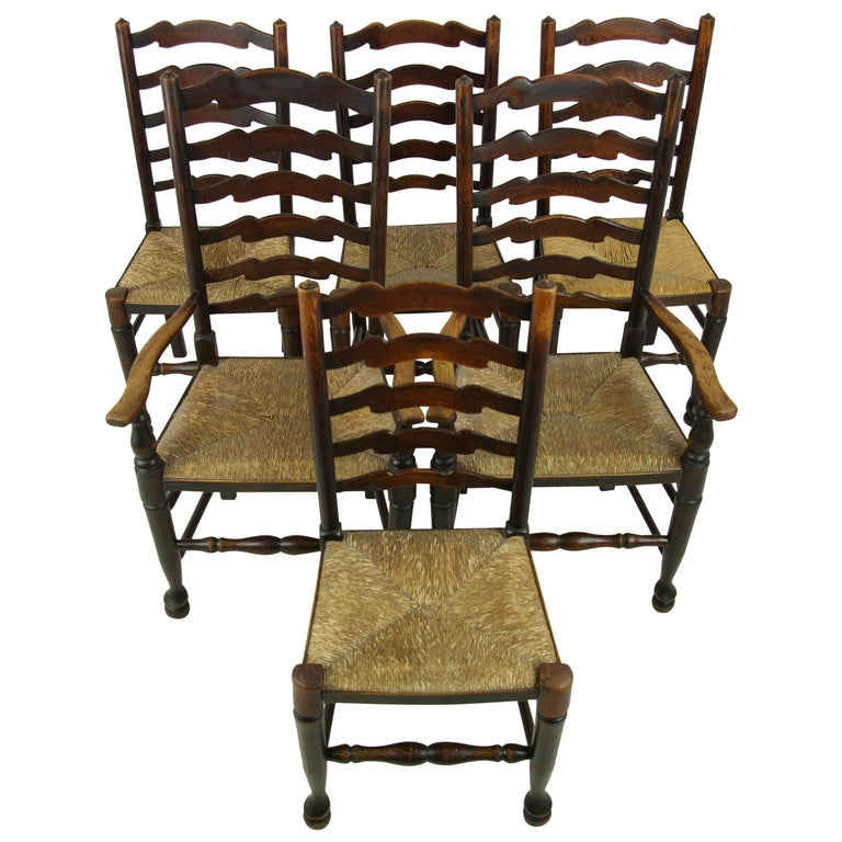 Antique Dining Chairs, Rush Chairs, Ladder Back Chairs, 1930s, B1014  REDUCED! - Antique Dining Chairs, Rush Chairs, Ladder Back Chairs, 1930s, B1014