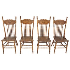 Antique Dining Chairs, Set of 4 Press Back Kitchen Chairs, Canada 1900, B2016