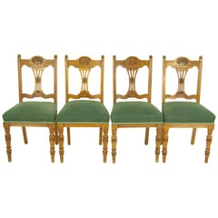 Antique Dining Chairs, Upholstered Chairs, 4 Dining Chairs, Scotland, 1900