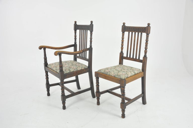 Antique dining chairs, eight high back chairs, oak, France, 1900 France, - Antique Dining Chairs, 8 High Back Chairs, Oak, France, 1900 GREATLY