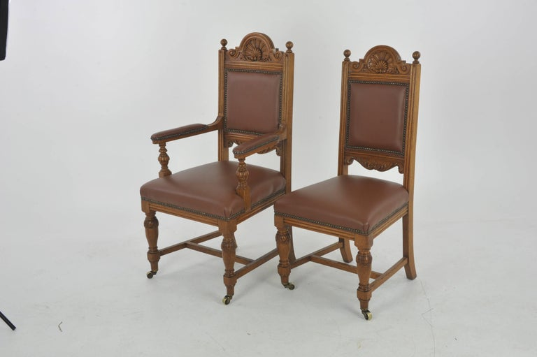 Antique dining chairs, carved oak, six chairs (5+1), Scotland - Antique Dining Chairs, Carved Oak, Six Chairs, Scotland, 1880 At 1stdibs