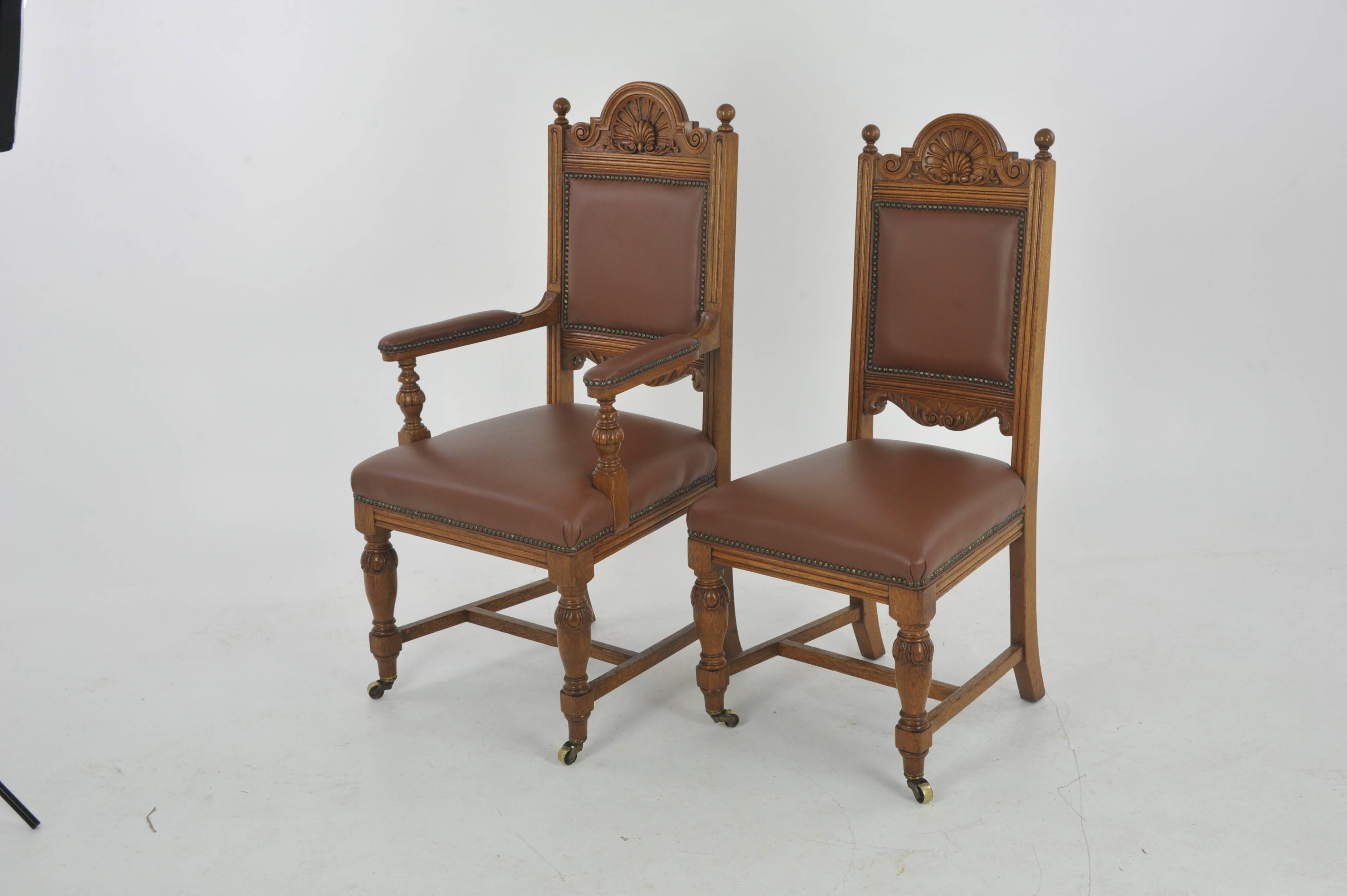 Antique dining chairs carved oak six chairs (5+1) Scotland & Antique Dining Chairs Carved Oak Six Chairs Scotland 1880 at 1stdibs