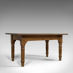 Antique Dining Table, English, Oak, Country Kitchen, Seats 4-6, Circa 1900