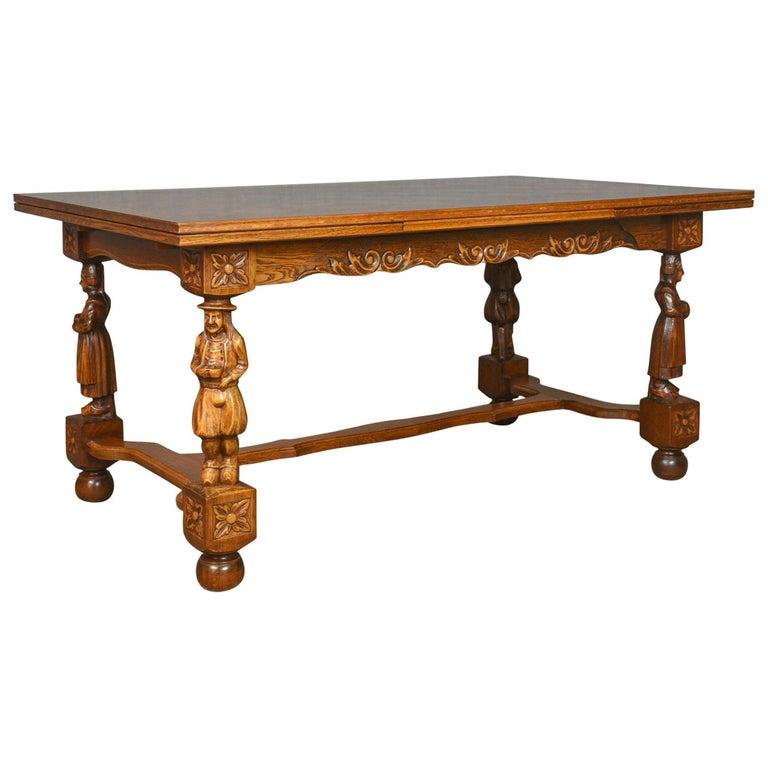 Antique Dining Table Extending Oak Draw Leaf Flemish Seats Up