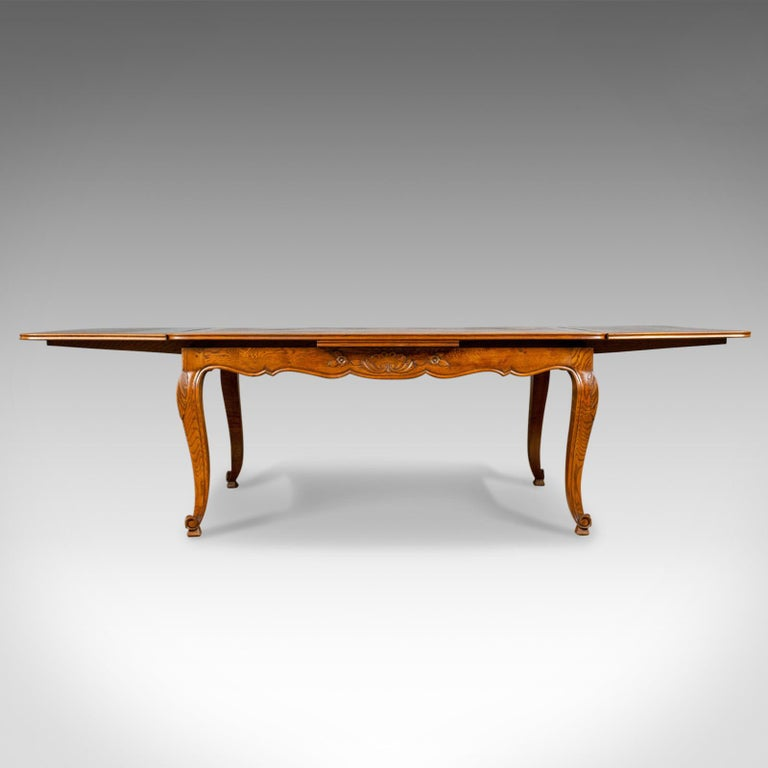 French Country Style Vintage Extendable Dining Table 1940: Antique Dining Table, French, Extending, Draw-Leaf, Oak