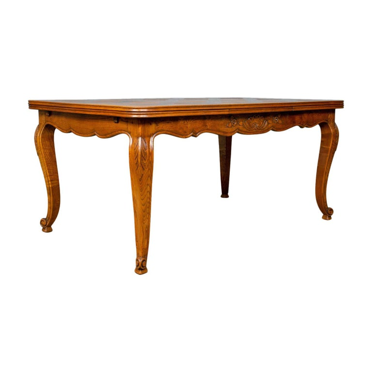 Antique Dining Table French Extending Draw Leaf Oak