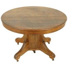 Antique Dining Table, Pedestal Table, Vintage Oak Table, Canada, 1900