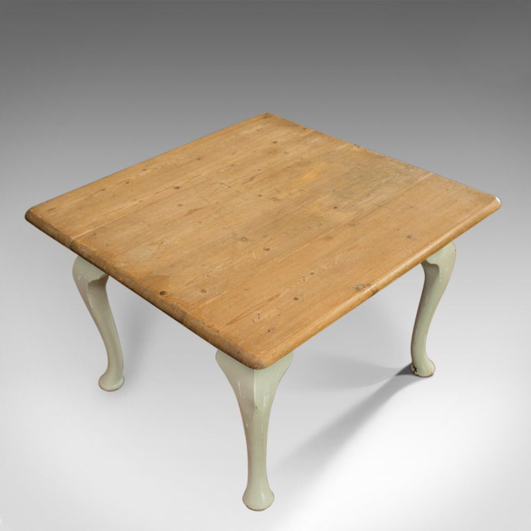 19th Century Antique Dining Table, Square, Pine, Mahogany, Country Kitchen, Seats Four For Sale