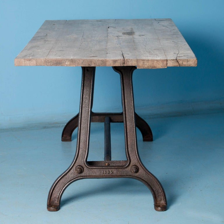 Hungarian Antique Dining Table with Industrial Iron Base For Sale