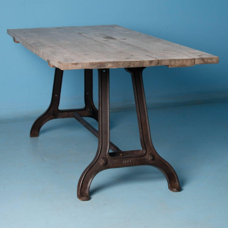 Dining Room Tables Denver: Antique Dining Table With Industrial Iron Base For Sale At