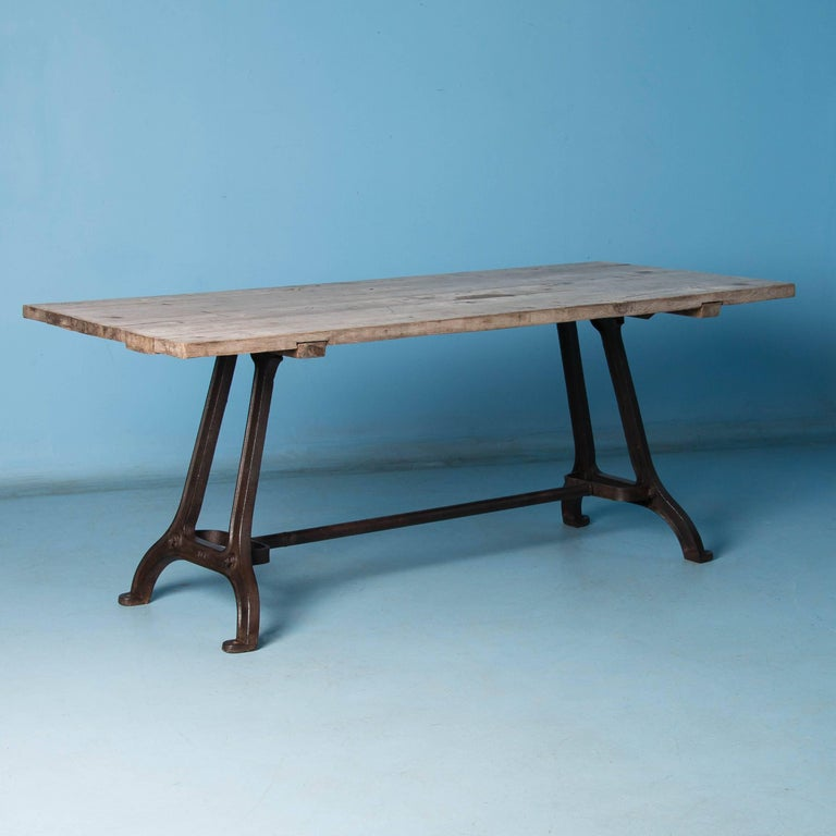 19th Century Antique Dining Table with Industrial Iron Base For Sale