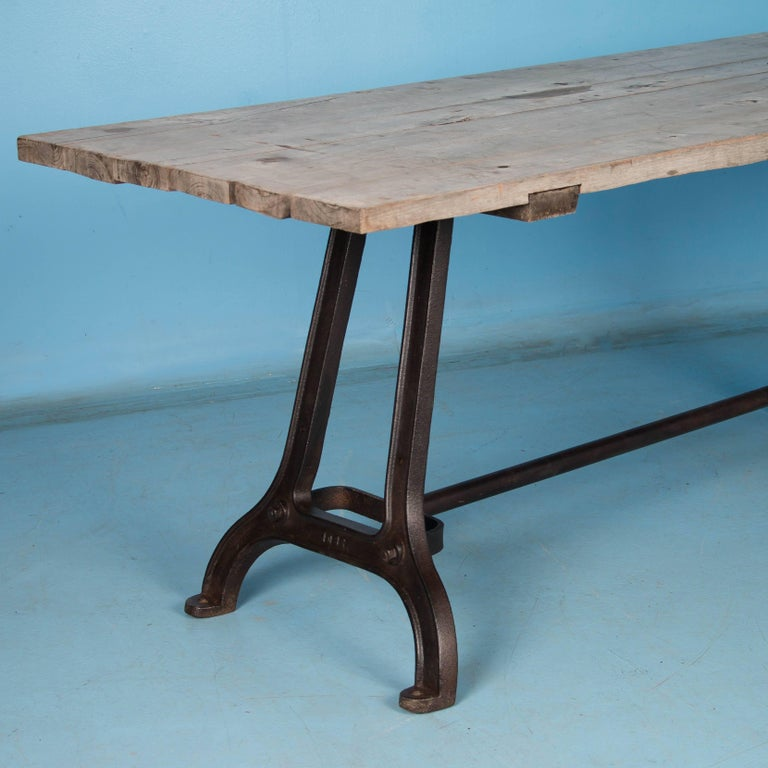 Antique Dining Table with Industrial Iron Base For Sale 1