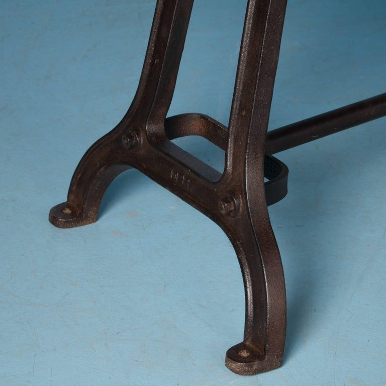 Antique Dining Table with Industrial Iron Base For Sale 2