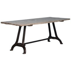 Antique Dining Table with Industrial Iron Base