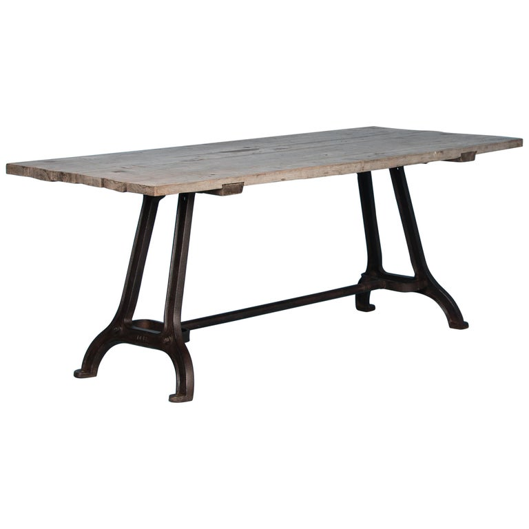 Antique Dining Table with Industrial Iron Base For Sale