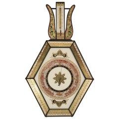 Antique Directoire Style Verre Églomisé Glass Barometer
