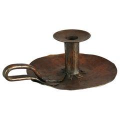 Antique Dirk Van Erp Hammered Copper Chamber Candlestick, Signed, Circa 1910