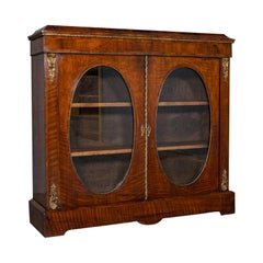 Antique Display Bookcase, English, Walnut, Boxwood, Empire, Cabinet, Regency