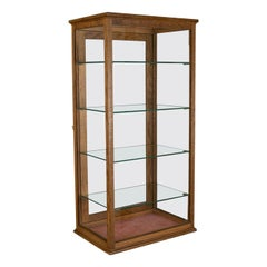 Antique Display Cabinet, Glass Shelves, English, Late 19th Century, Oak