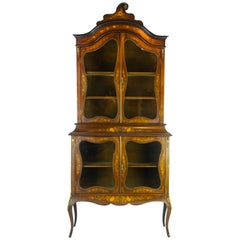Antique Display Cabinet, Louis XVI Vitrine, Marquetry Vitrine, Walnut