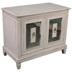 Antique Distress Painted Patinated Mirrored Continental Style Commode Cabinet