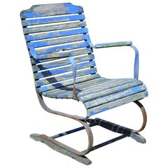 Antique Distressed Blue Paint Wood Slat Wrought Iron Patio Garden Bouncer Chair