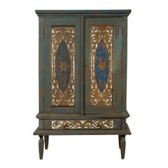 Antique Distressed Blue Painted Cabinet with Carved Doors and Single Drawer