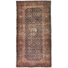 Antique Distressed Large Runner Mahal Hand Knotted Rug