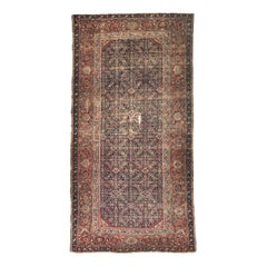 Antique Distressed Large Runner Mahal Style Hand Knotted Rug