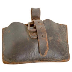 Antique Distressed Leather Money Pouch Small Buckled Coin Wallet for Belt, 1900s