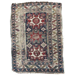 Antique Distressed Lesgui Caucasian Chirwan Rug