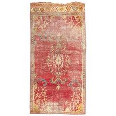 Antique Distressed Long Turkish Smyrne Rug