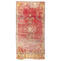 Antique Distressed Long Turkish Smyrne Rug