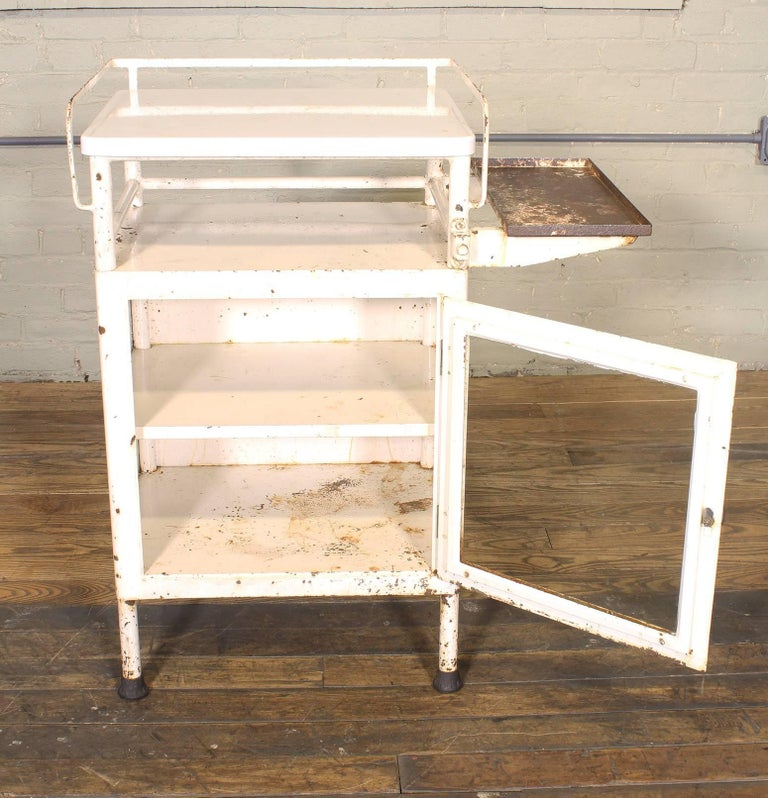 Industrial Antique Distressed Medical Storage Cabinet For Sale